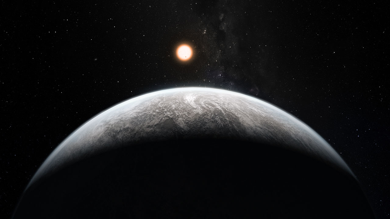 This artist's impression shows the planet orbiting the Sun-like star HD 85512 in the southern constellation of Vela (The Sail). This planet is one of sixteen super-Earths discovered by the HARPS instrument on the 3.6-metre telescope at ESO's La Silla Observatory. This planet is about 3.6 times as massive as the Earth lis at the edge of the habitable zone around the star, where liquid water, and perhaps even life, could potentially exist.